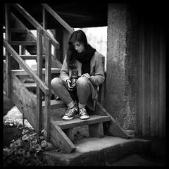 Alessandra (Giulia Torra) Tags: camera portrait bw woman 120 film vintage mediumformat blackwhite bn hp5 f18 ilford biancoenero 120mm kiev88 analogic pellicola analogico medioformato