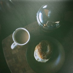while it's still dark outside (jamie {74}) Tags: coffee frenchpress bagel 4s iphone iphoneography pictureshowapp instagram instantfilterwithrubfinish