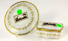 57. Antique French Porcelain Plate and Box