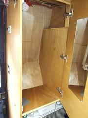 Wardrobe above fridge with mirror on inside of door (Mudman101) Tags: fiat motorhome ducato