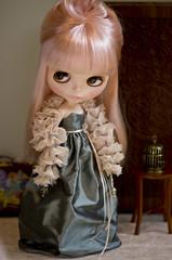 silk evening - dark sage (JennWrenn) Tags: fashion evening clothing doll handmade silk formalwear blythe mim ballgown stellasavannah