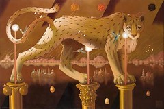 Kandl, Lukas (1944- ) - Landscape Initiatique (Private Collection) (RasMarley) Tags: animal czech contemporary surrealism tiger painter 20thcentury magicrealism kandl lukaskandl landscapeinitiatique