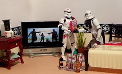 Palpatine's Pastries on the Death Star (ChicaD58) Tags: plant beer actionfigure cookbook tv bed chair wine alcohol stormtrooper booze coffeemug picnik sulking stb endtable clonetrooper starwarsactionfigure stormtrooperlegionofmerit stormtrooperbruce walkingathinline tk432 lifeonthedeathstar vadercommemorativebottleofscotch emperorblockheadspatries