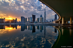 Parallelism (DanielKHC) Tags: bridge sunset water clouds digital 1 bay nikon dubai uae business explore khalifa dri hdr burj blending d300 danielcheong danielkhc tokina1116mmf28
