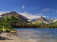 Invitation to a Picnic (Phil's Pixels) Tags: montana lakes glaciernationalpark peaks paintedteepeepeak neverlaughswomanmountain twomedicinelaketwomedicine