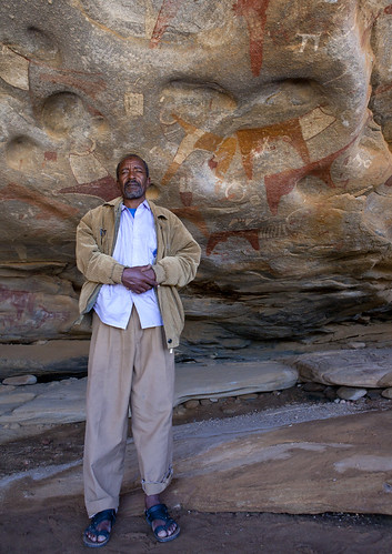 Laas Geel Rock Art Caves, Guide Standing In Cave Somaliland