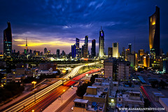 KUWAIT CITY IN BLUE (SAAD AL_FARHAN) Tags: street city blue red orange house tower nikon cityscape gulf cloudy trail filter arab lee future kuwait saad d3s alfarhan