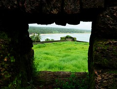 Guarded View from the Watch Tower of Bakel Fort overlooking Arabian Sea, Kerala (-Reji) Tags: ocean trees sea india west green history beach coast seaside nikon view co
