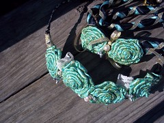 Aqua handfasting cord (ClandestineArt) Tags: wedding gypsy wicca handfasting pagan wiccan fabricflowers fabricroses handfastingcord