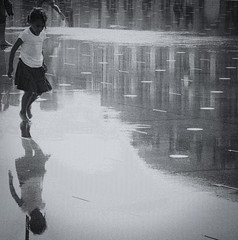 ~ the beginnings ~ (Janey Kay) Tags: distortion reflection water girl reflections bordeaux streetphotography squareformat abstraction fille spiegelung reflets 2009 internationalwomensday journeinternationaledelafemme nikond80 formatcarr janeykay