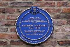 Photo of Andrew Marvell blue plaque