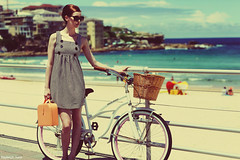 60s Summer (Kayleigh.) Tags: ocean beach girl bondi sunglasses bike vintage bag sand 60s dress sunny retro 1960s twiggy 1960