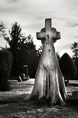 Tree Trunk Gravestone (Robert_Brown [bracketed]) Tags: county wood bw brown white black robert cemetery grave stone oregon canon wooden carved highway cross head mark headstone greenwood carving hwy ii gravestone astoria trunk marker 5d 202 clatsop hewn