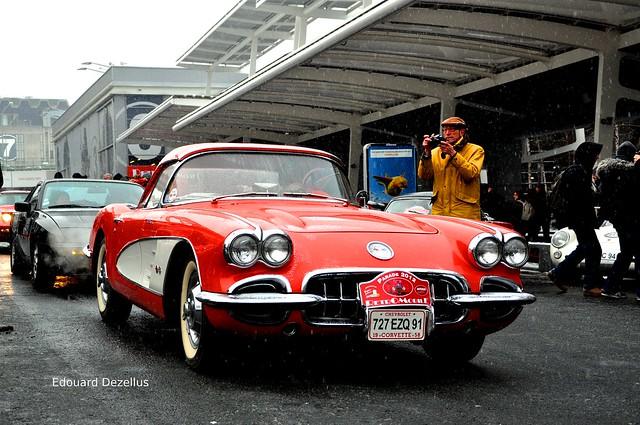 street red snow paris france chevrolet chevy corvette 2012 retromobile