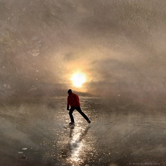 Ice Skating (h.koppdelaney) Tags: life winter sunset lake man cold art ice digital photoshop landscape gold frost symbol skating picture philosophy skater mann metaphor psyche minus symbolism psychology archetype klte eislauf eiskunst schlittschuhlufer bestcapturesaoi koppdelaney