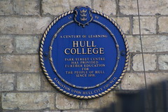 Photo of Hull College blue plaque