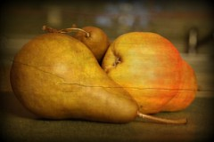 three pears (manywinters) Tags: texture kitchen fruit three pears pairs picnik