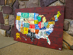 2012 USA License Plate Map #2 (designturnpike) Tags: original green art metal vintage aluminum industrial ebay recycled handmade creative automotive historical etsy reuse licenseplatemap licenseplateart
