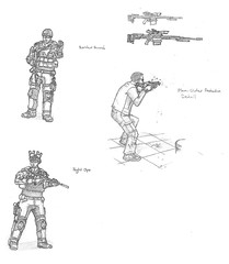 Future Soldiers 1 (T3h guy) Tags: light 2 3 infantry soldier person 1 sketch call gun 5 awesome duty 4 rifle helmet machine halo assault special armor future third soldiers custom cod armour spec m4 lmg ops blackops pdw cryeprecision
