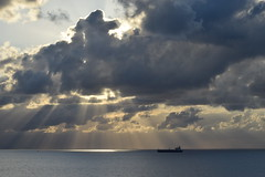 Skyscape (ChristopherSmith.Photo) Tags: ocean light shadow sun boat ship florida atlantic shade sunrays freighter