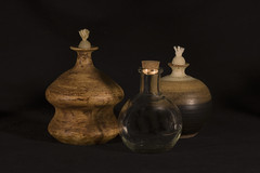 IMG_0003 Oil Lamps and Vessel (oldimageshoppe) Tags: stilllife handmade pottery oillamps glassvessel