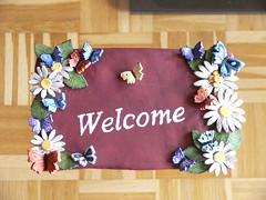 Welcome bordje (Alexandra!2010) Tags: hobby elf fairy alexandra klei werk keramiek draak zeepaardje eigen elfje tovenaar mozaek paverpol handwerken dankers formofit lexiescreatief