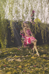 ROSA PEONIA (Pauline L photographe) Tags: pink flowers color green girl fairytale countryside colorfull fineart fairy fantasy fe paradis fineartphotography fantastique frie fineartphotographer
