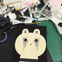 Friday night studio (Andrea Kang) Tags: bear cute painting studio paint character crying gouache characterdesign andreakang instagram ifttt