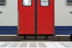 Two red doors (Jan van der Wolf) Tags: red lines station composition train doors perron platform symmetry symmetric redrule rood liege quai luik trein lijnen symmetrie deuren compositie guillemins guilleminsstation map154100v