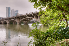 135/365.2016 Pfluger Foot Bridge (OscarAmos) Tags: reflection water architecture austin landscape downtown texas townlake hdr lightroom flowersplants 18200mm tonemapped detailenhancer topazadjust project3652016 nikond7200 oscaramosphotography