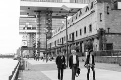 Im Zollhafen, Cologne (margaretsdad) Tags: street city uk people blackandwhite bw white black river germany scott scotland edinburgh cologne rhine koln commuters barron midlothian rheinauhafen d7100 scottbarron imzollhafen