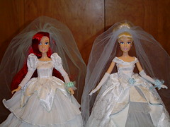 Once Upon a Wedding Ariel and Cinderella Dolls Deboxed - Midrange Front View (drj1828) Tags: wedding ariel standing store doll veil princess disney once cinderella gown upon deboxed