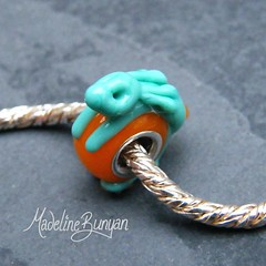 """Celadon and Orange Bunny Silver Cored Bead • <a style=""""font-size:0.8em;"""" href=""""https://www.flickr.com/photos/37516896@N05/6418490477/"""" target=""""_blank"""">View on Flickr</a>"""