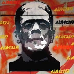 Angst - Fear (Akbar Sim) Tags: streetart holland netherlands stencil fear nederland denhaag frankenstein thehague angst straatkunst akbarsimonse akbarsim hetmonstervanfrankenstein