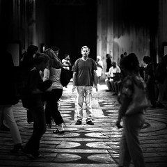 Moment in a maze (sparth) Tags: people bw france canon square religious cathedral 85mm august maze l meditation 12 85 labyrinth chartres aout noirblanc labyrinthe carre chartrescathedral 2011 canon85mm12l bwsquare 5dmkii