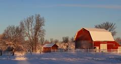 Sunrise on Fresh Snowfall (eyesontheskies) Tags: snow barn sunrise snowfall