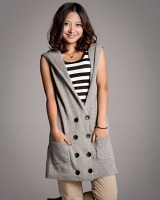 59216八粒扣双口袋无袖连帽长版针织衫-灰色-(韓版時尚女裝-www.ef1688.com)