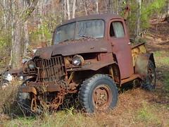 Vintage Power Wagon Tow Truck (Dave* Seven One) Tags: dodge powerwagon towtruck wrecker abandoned forgotten rust rusty neglect decay rot nature ga broken flattire art classic vintage 4x4 green