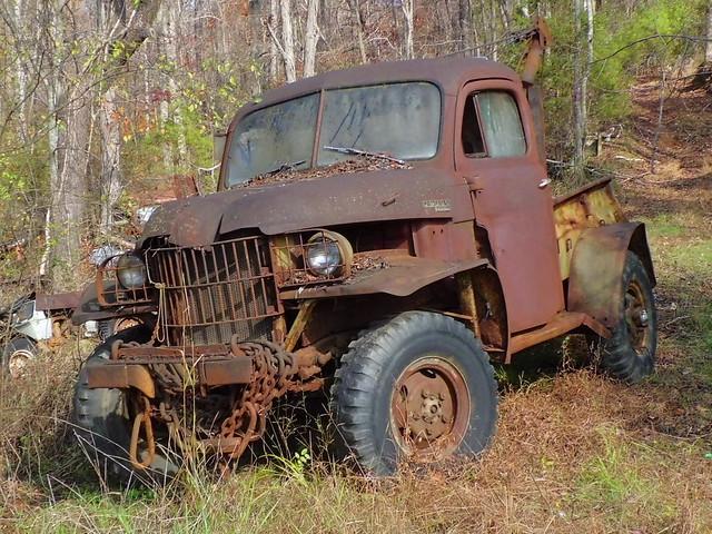 rot art classic abandoned broken nature neglect ga vintage rust decay rusty forgotten dodge flattire towtruck wrecker powerwagon