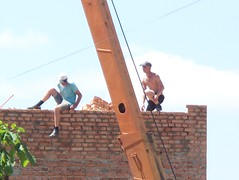 100_3654 (The Mighty Danny) Tags: hairy man sexy men guy window work relax foot student nipples legs muscular smoke chest butt rear young handsome hunk guys belly cap worker ladder contruction stud builder bulge