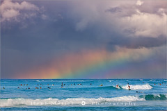 Surfers under the Rainbow - Waikiki Beach - Honolulu - Hawaii (~ Floydian ~ ) Tags: ocean city sea vacation usa seascape color colour tourism beach colors clouds america swimming swim canon hawaii rainbow surf waves colours pacific waikiki oahu surfer postcard wave surfing romance capitol postcards surfers honolulu swimmers waikikibeach meijer henk holdiday floydian proframe proframephotography canoneos1dsmarkiii henkmeijer surfersundertherainbow