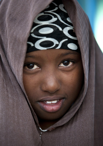 Smiling Young Black Girl In Brown Veil Portrait Boorama Somaliland