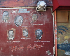 GREAT AFRICAN AMERICANS Mural at Dining Heritage, Central Harlem, New York City (jag9889) Tags: newyork heritage graffiti mural african harlem manhattan great americans dining 20 tubman undergroundrailroad banknote 20bill twentydollarbill 2011 y2011 jag9889