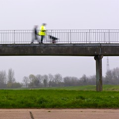 Two Men ... with wheelbarrow ... on a rainy day ... (Petur) Tags: bridge trees grass rain concrete workmen flourescent wheelbarrow bej innamoramento