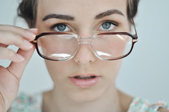 (laura zalenga) Tags: portrait woman girl face self mouth glasses eyes hand close lips gaze laurazalenga