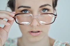 (laura zalenga) Tags: portrait woman girl face self mouth glasses eyes hand close lips gaze ©laurazalenga