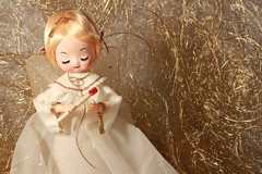 Sweet Angel Floating in the Clouds (Ancestors of Cornelius Dunham) Tags: christmas xmas white holiday beautiful angel clouds vintage hair religious gold golden doll candle dress floating fair holy ethereal blonde serene lovely spiritual angelic sheer angelhair toeheaded