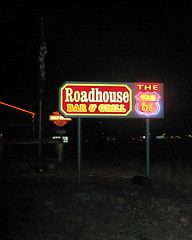 The Route 66 Roadhouse Bar & Grill Bellemont AZ (Al_HikesAZ) Tags: arizona food caf sign bar restaurant route66 neon flag grandcanyon americanflag diner az 66 grill harley route harleydavidson americana neonsign davidson backroad roadhouse i40 motherroad bargrill barandgrill bellemont alhikesaz gc2011 grandviewyakipoint2011 route66roadhousebargrill