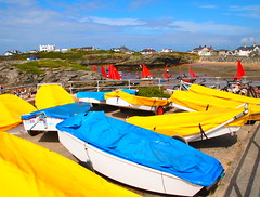 Colourful boats, Trearddur Bay, Anglesey, Wales (MickyFlick) Tags: blue red yellow wales boats bay anglesey trearddur trearddurbay