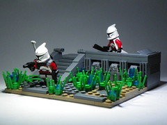 Defending an Outpost on Caamas (Brickcentral) Tags: red trooper star republic lego arc scene planet wars custom build clone vignette base outpost moc 16x16 caamas